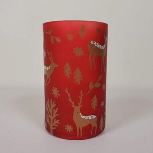 Christmas Flower Vase with Deer Red Gold